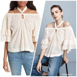 NWT LA VIE EYELET OFF-THE-SHOULDER HALTER TOP